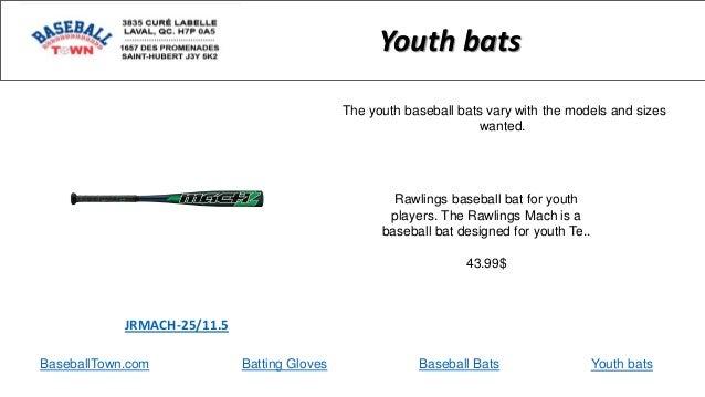 BaseballTown.com Batting Gloves Baseball Bats Rawlings baseball bat for youth players. The Rawlings Mach is a baseball bat...