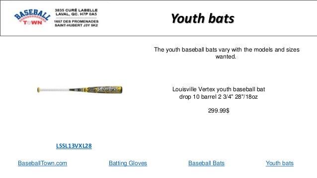"BaseballTown.com Batting Gloves Baseball Bats Louisville Vertex youth baseball bat drop 10 barrel 2 3/4"" 28""/18oz 299.99$ ..."