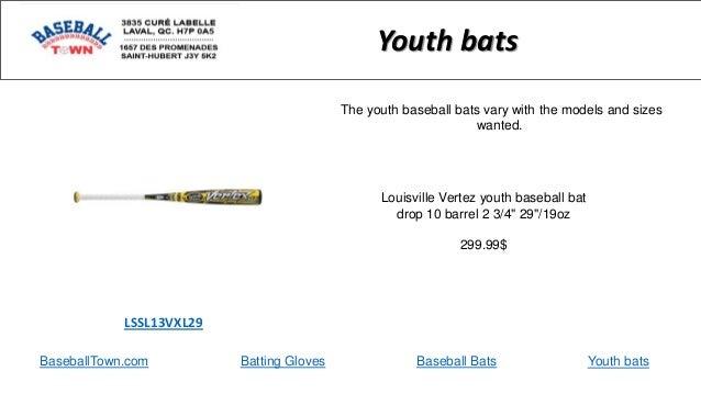 "BaseballTown.com Batting Gloves Baseball Bats Louisville Vertez youth baseball bat drop 10 barrel 2 3/4"" 29""/19oz 299.99$ ..."