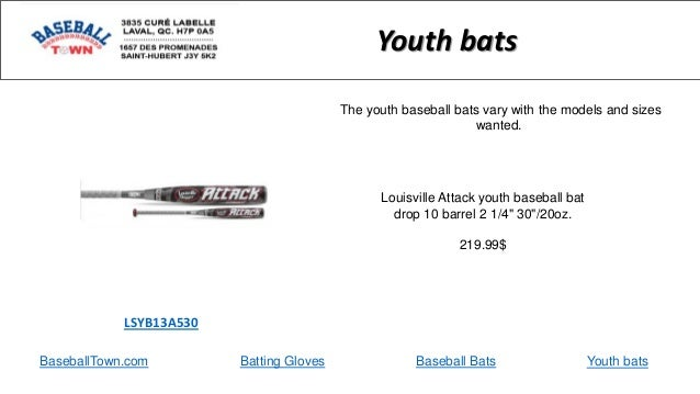 "BaseballTown.com Batting Gloves Baseball Bats Louisville Attack youth baseball bat drop 10 barrel 2 1/4"" 30""/20oz. 219.99$..."