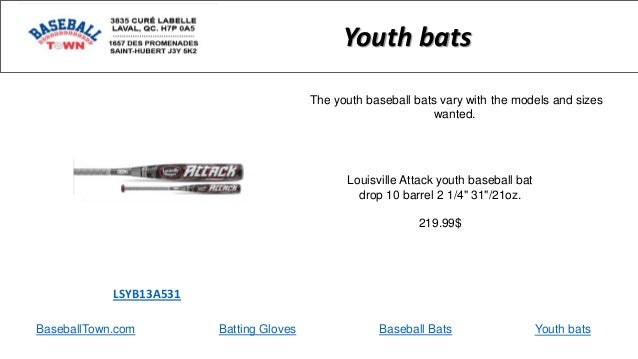 "BaseballTown.com Batting Gloves Baseball Bats Louisville Attack youth baseball bat drop 10 barrel 2 1/4"" 31""/21oz. 219.99$..."