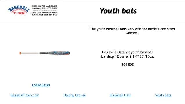 "BaseballTown.com Batting Gloves Baseball Bats Louisville Catalyst youth baseball bat drop 12 barrel 2 1/4"" 30""/18oz. 109.9..."