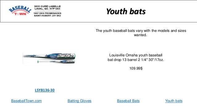 "BaseballTown.com Batting Gloves Baseball Bats Louisville Omaha youth baseball bat drop 13 barrel 2 1/4"" 30""/17oz. 109.99$ ..."