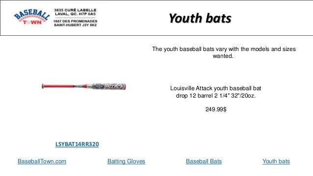 "BaseballTown.com Batting Gloves Baseball Bats Louisville Attack youth baseball bat drop 12 barrel 2 1/4"" 32""/20oz. 249.99$..."