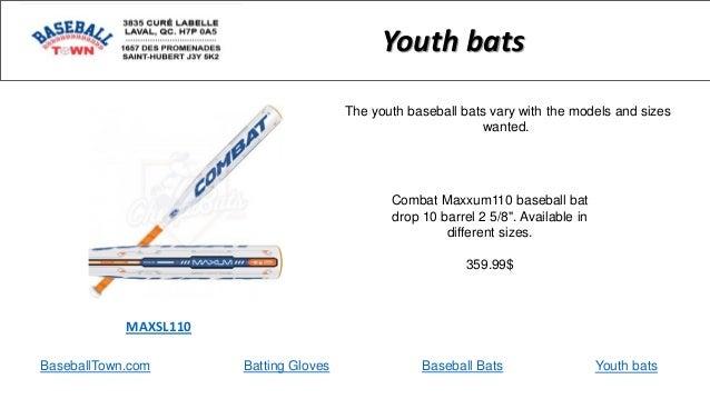 "BaseballTown.com Batting Gloves Baseball Bats Combat Maxxum110 baseball bat drop 10 barrel 2 5/8"". Available in different ..."