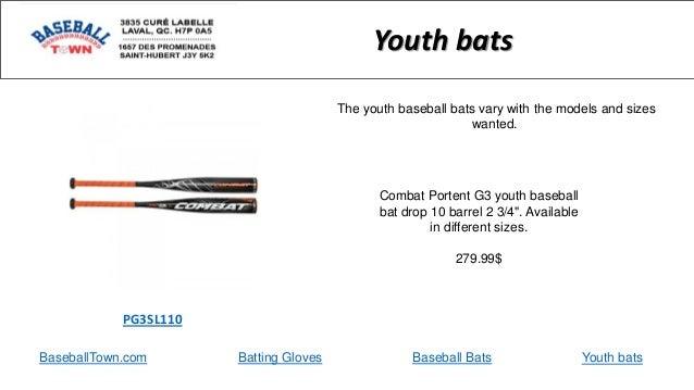 "BaseballTown.com Batting Gloves Baseball Bats Combat Portent G3 youth baseball bat drop 10 barrel 2 3/4"". Available in dif..."