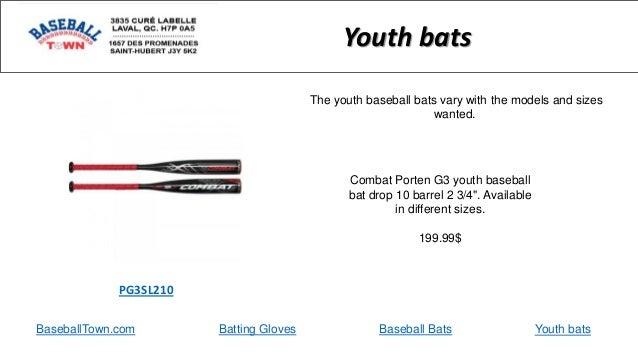 "BaseballTown.com Batting Gloves Baseball Bats Combat Porten G3 youth baseball bat drop 10 barrel 2 3/4"". Available in diff..."