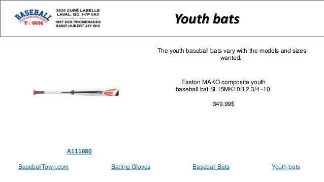 BaseballTown.com Batting Gloves Baseball Bats Easton MAKO composite youth baseball bat SL15MK10B 2 3/4 -10 349.99$ A111680...