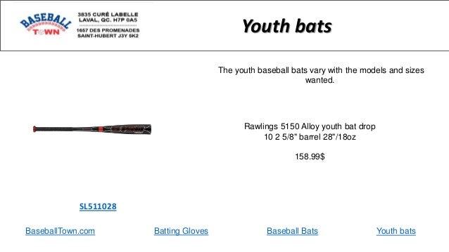 "BaseballTown.com Batting Gloves Baseball Bats Rawlings 5150 Alloy youth bat drop 10 2 5/8"" barrel 28""/18oz 158.99$ SL51102..."