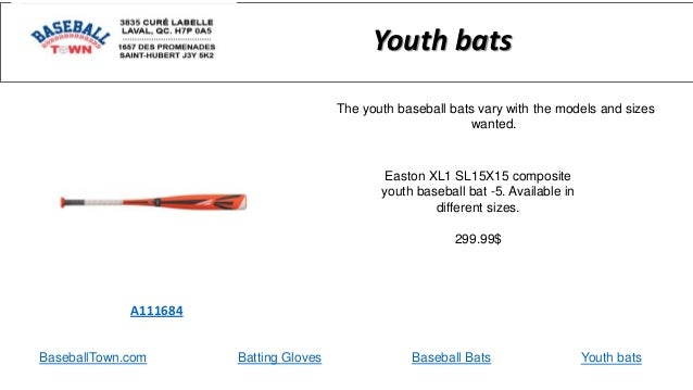 BaseballTown.com Batting Gloves Baseball Bats Easton XL1 SL15X15 composite youth baseball bat -5. Available in different s...