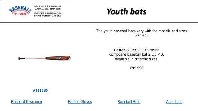 BaseballTown.com Batting Gloves Baseball Bats Adult bats Easton SL15S210 S2 youth composite baseball bat 2 5/8 -10. Availa...