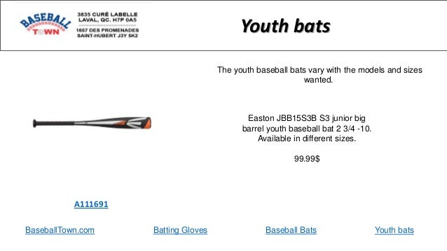 BaseballTown.com Batting Gloves Baseball Bats Easton JBB15S3B S3 junior big barrel youth baseball bat 2 3/4 -10. Available...