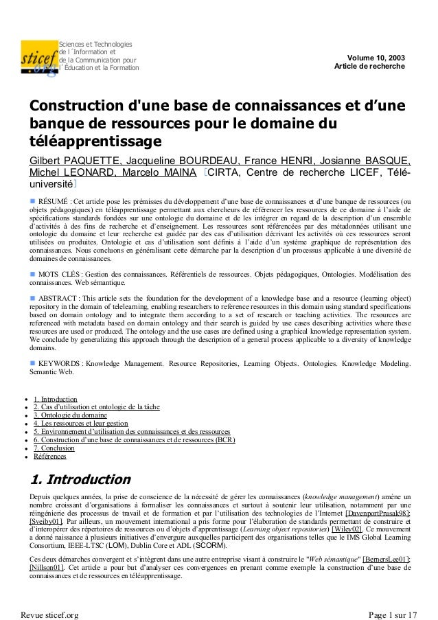 Sciences et Technologiesde l´Information etde la Communication pourl´Éducation et la FormationVolume 10, 2003Article de re...