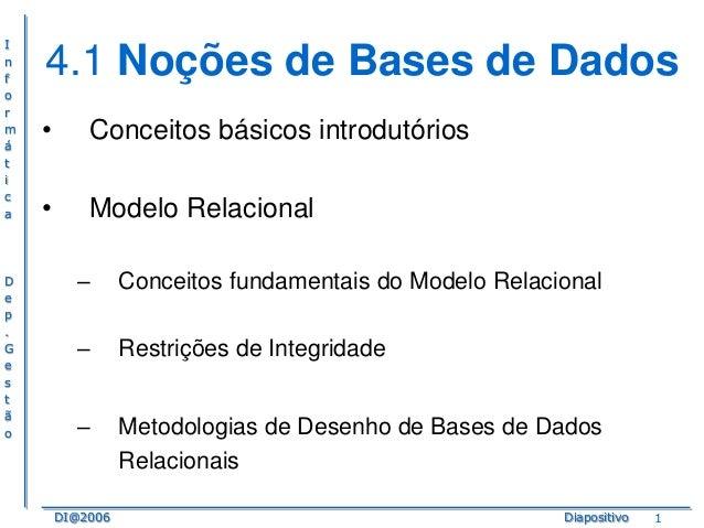 I n f o r m á t i c a  D e p . G e s t ã o  4.1 Noções de Bases de Dados •  Conceitos básicos introdutórios  •  Modelo Rel...