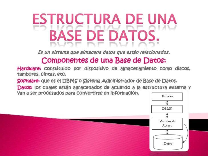 ESTRUCTURA DE UNA BASE DE DATOS.<br />Es un sistema que almacena datos que están relacionados.<br />Componentes de una Bas...