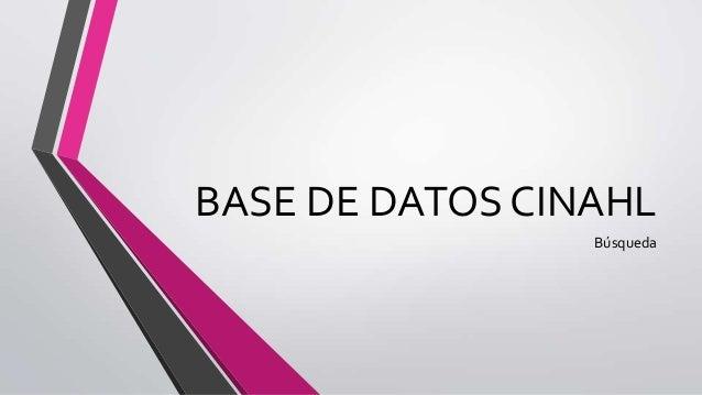 BASE DE DATOS CINAHLBúsqueda