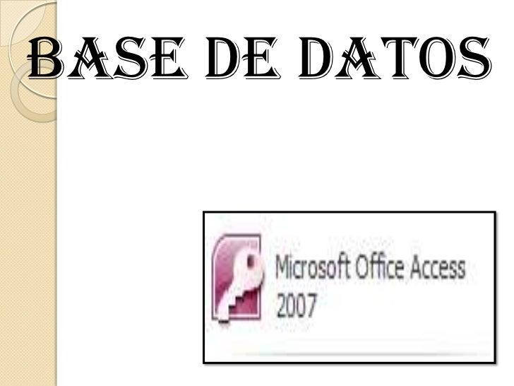 BASE DE DATOS<br />