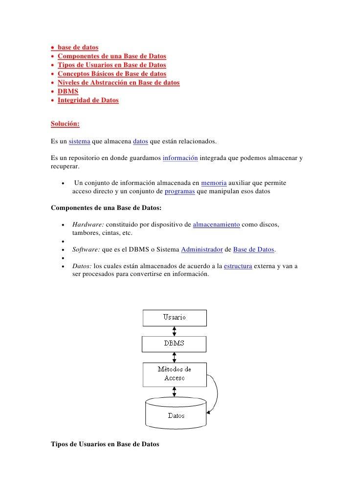    base de datos   Componentes de una Base de Datos   Tipos de Usuarios en Base de Datos   Conceptos Básicos de Base d...