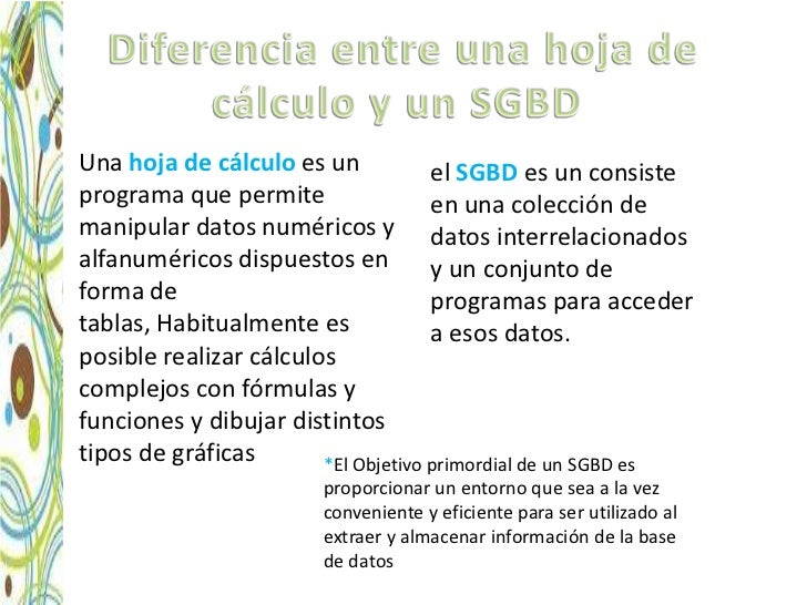 • Una hoja de cálculo es un            el SGBD es un consiste  programa que permite                 en una colección de  m...
