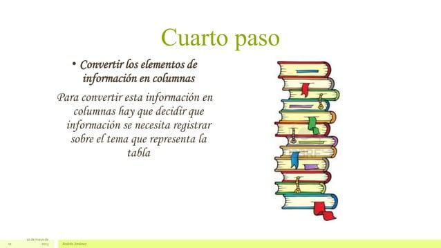 Cuarto paso• Convertir los elementos deinformación en columnasPara convertir esta información encolumnas hay que decidir q...