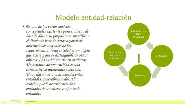 Modelo entidad-relación• Es uno de los varios modelosconceptuales existentes para el diseño debase de datos, su proposito ...