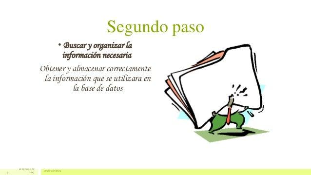 Segundo paso• Buscar y organizar lainformación necesariaObtener y almacenar correctamentela información que se utilizara e...