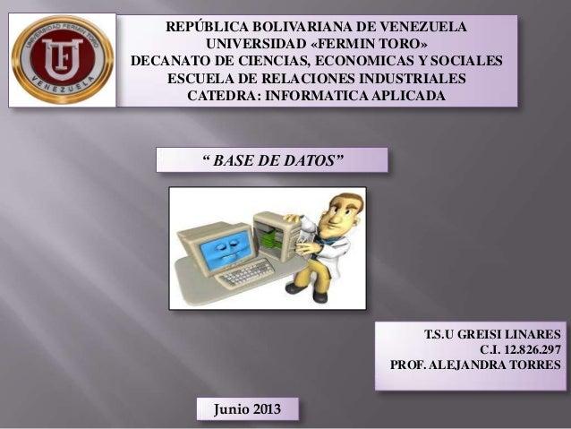 REPÚBLICA BOLIVARIANA DE VENEZUELAUNIVERSIDAD «FERMIN TORO»DECANATO DE CIENCIAS, ECONOMICAS Y SOCIALESESCUELA DE RELACIONE...