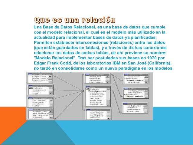 Que es una relaciónQue es una relación Una Base de Datos Relacional, es una base de datos que cumple con el modelo relacio...