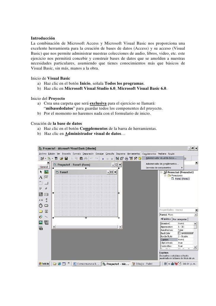 Introducción<br />La combinación de Microsoft Access y Microsoft Visual Basic nos proporciona una excelente herramienta pa...