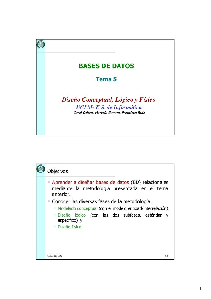 BASES DE DATOS                                 Tema 5               Diseño Conceptual, Lógico y Físico                    ...