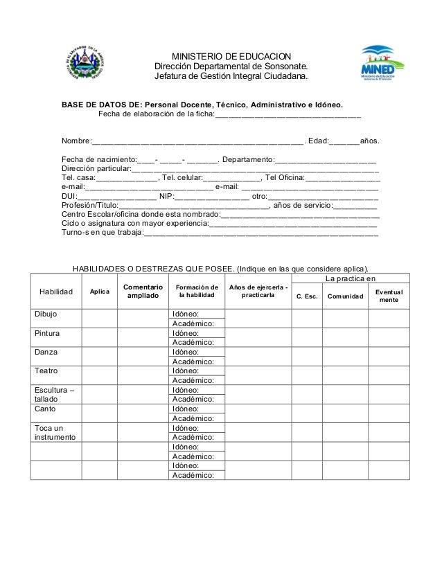 MINISTERIO DE EDUCACION Dirección Departamental de Sonsonate. Jefatura de Gestión Integral Ciudadana. BASE DE DATOS DE: Pe...