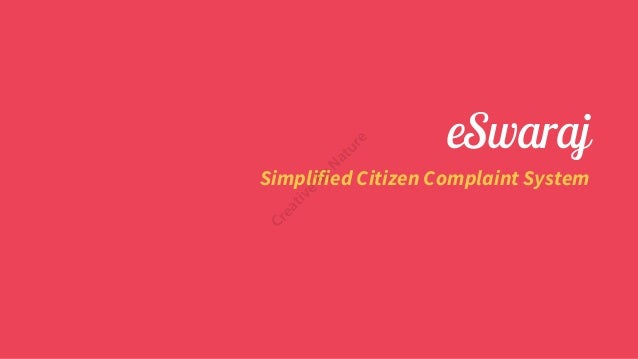 eSwaraj Simplified Citizen Complaint System Creative ByNature