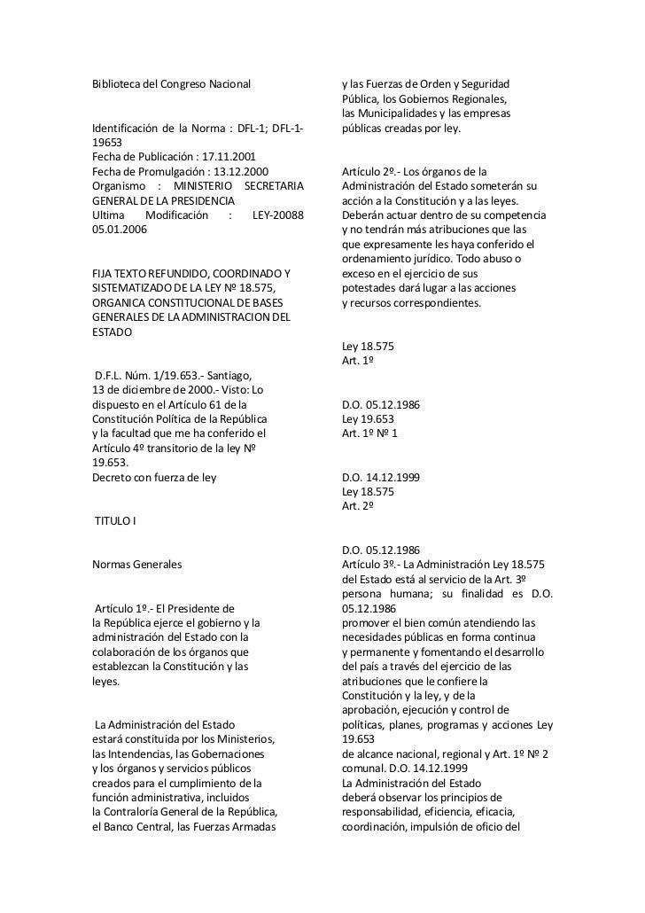 Biblioteca del Congreso Nacional <br />Identificación de la Norma : DFL-1; DFL-1-19653 <br />Fecha de Publicación : 17.11....