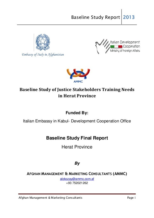 Baseline Study Report 2013 Afghan Management & Marketing Consultants Page i Embassy of Italy in Afghanistan Baseline Study...