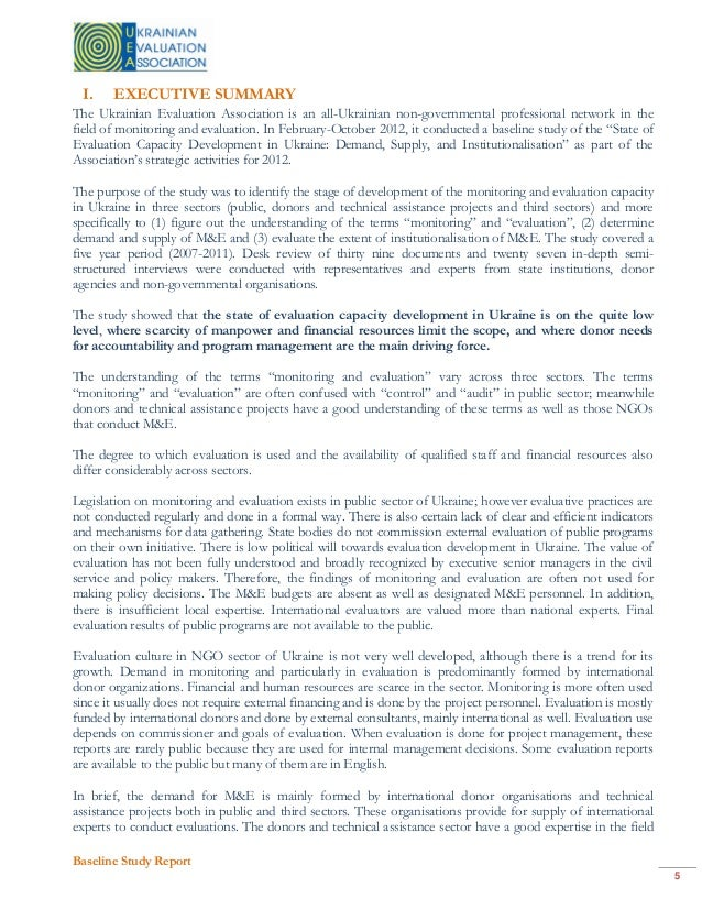 Ukrainian Association of Evaluation, Baseline quality ...
