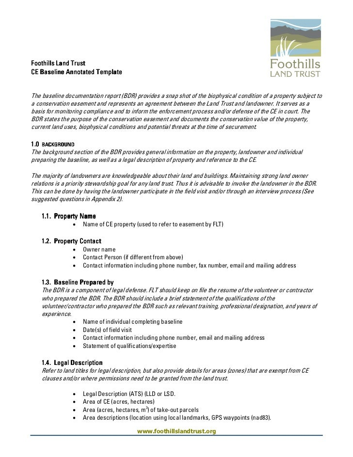 Foothills Land TrustCE Baseline Annotated TemplateThe baseline documentation report (BDR) provides a snap shot of the biop...