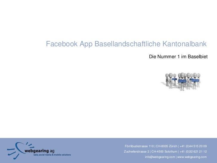 Facebook App Basellandschaftliche Kantonalbank                                        Die Nummer 1 im Baselbiet           ...
