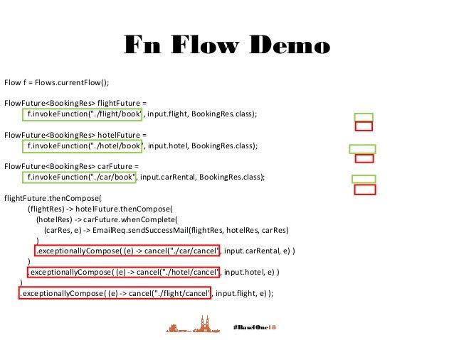 "#BaselOne18 Fn Flow Demo Flow f = Flows.currentFlow(); FlowFuture<BookingRes> flightFuture = f.invokeFunction(""./flight/bo..."