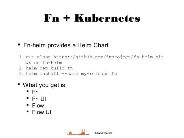 #BaselOne18 Fn + Kubernetes  Fn-helm provides a Helm Chart 1. git clone https://github.com/fnproject/fn-helm.git && cd fn...