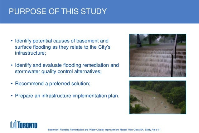 Basement Flooding Remediation And Water Quality Improvement Master Plan  Class EA: Study Area 41; 3.