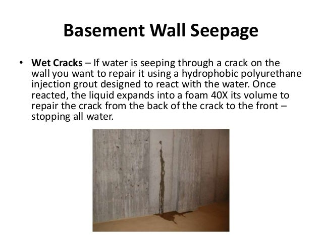 Basement Wall ...  sc 1 st  SlideShare & Basement Seepage Solutions
