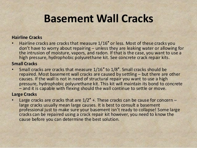 Basement Wall Crack Repair Kit; 2. Basement ...