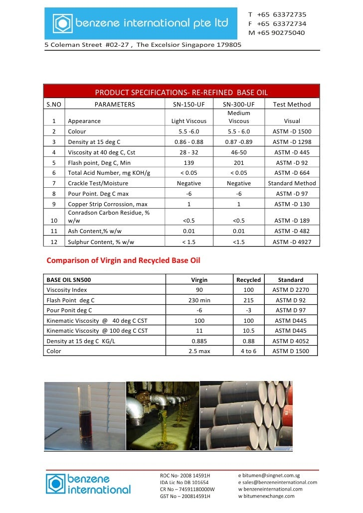 Base Oil Supply from Benzene International Pte Ltd, Singapore