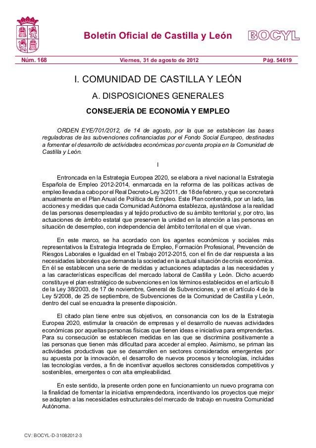 Boletín Oficial de Castilla y LeónNúm. 168                              Viernes, 31 de agosto de 2012                     ...