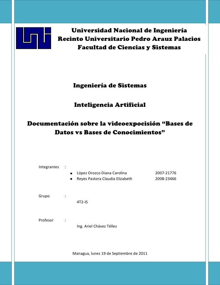 """Ingeniería de SistemasInteligencia ArtificialDocumentación sobre la videoexpocisión """"Bases de Datos vs Bases de Conocimien..."""