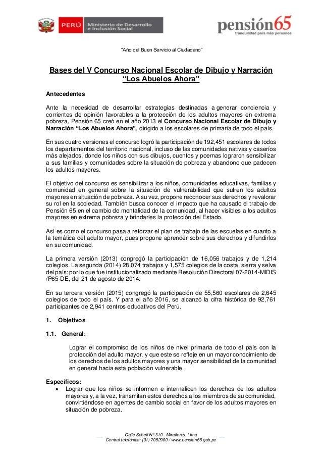 """""""Año del Buen Servicio al Ciudadano"""" Calle Schell N° 310 - Miraflores, Lima Central telefónica: (01) 7052900 / www.pension..."""