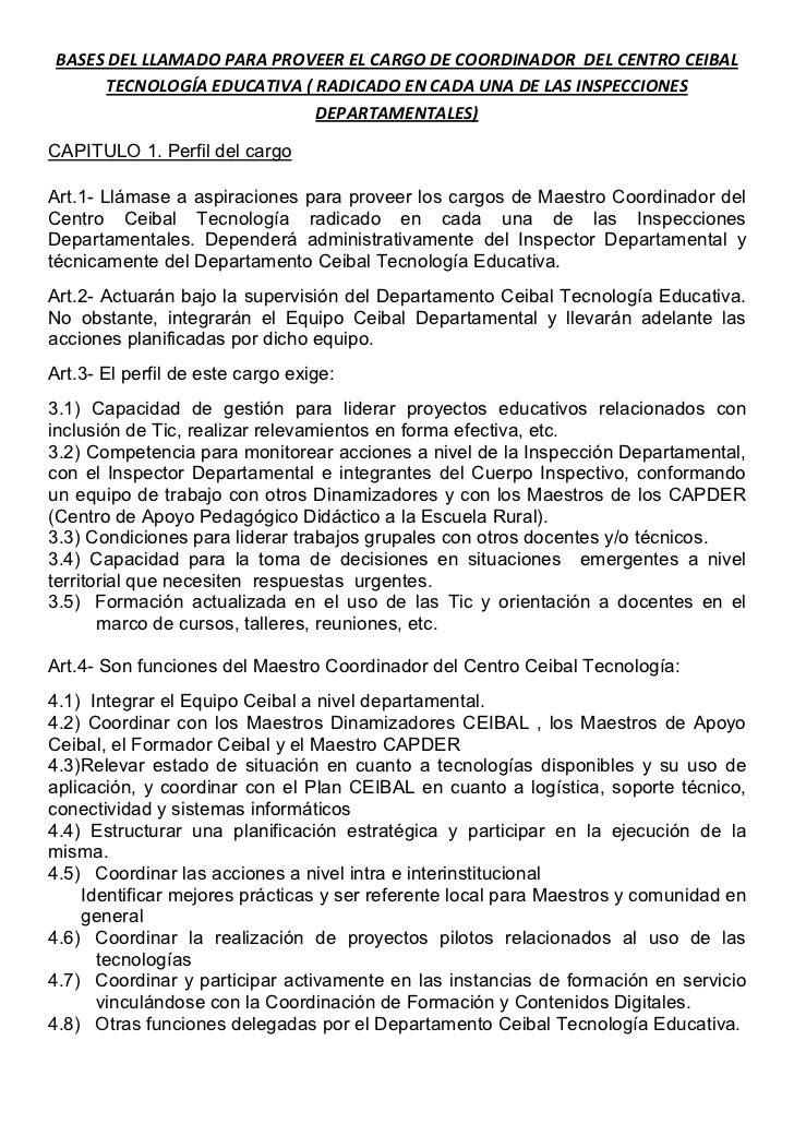 BASES DEL LLAMADO PARA PROVEER EL CARGO DE COORDINADOR DEL CENTRO CEIBAL      TECNOLOGÍA EDUCATIVA ( RADICADO EN CADA UNA ...