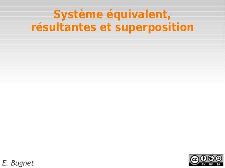 Système équivalent,        résultantes et superpositionE. Bugnet