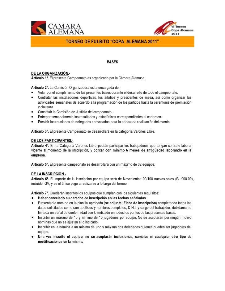 """TORNEO DE FULBITO """"COPA ALEMANA 2011""""                                                  BASESDE LA ORGANIZACIÓN.-Artículo 1..."""