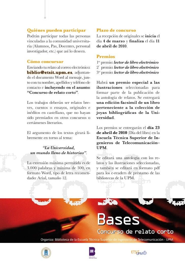 Día del libro 2010 : bases del concurso relato corto en biblioteca.etsit